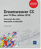 Dreamweaver CC pour PC/Mac (édition 2018), site web, html, feuille de style, css, Quick Tag Editor, Design Notes, Extension Manager, Actifs, Formulaire, Homesite, Dream, dreamwever