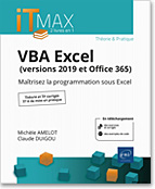 VBA Excel (versions 2019 et Office 365), microsoft,  macro-commande, macro commande, office, api, excel vba, excel 2016, office 2019, office 365, livre VBA, objet, langage objet, programmation, macro, macros, Visual Basic, VB, Office 2019